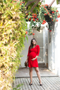 red front cross maternity and nursing dress_1