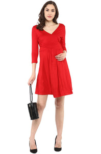red front cross maternity and nursing dress_3