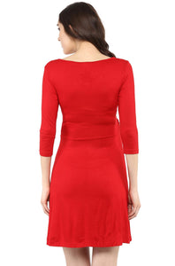red front cross maternity and nursing dress_4