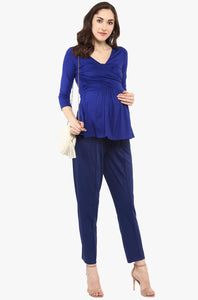 royal blue front cross maternity nursing top_3