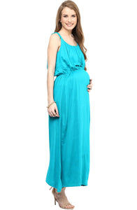 sky blue stylish maternity maxi dress_4