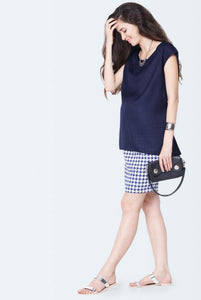 sleeveless maternity top in navy blue color_2