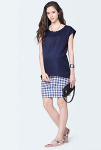 sleeveless maternity top in navy blue color_3