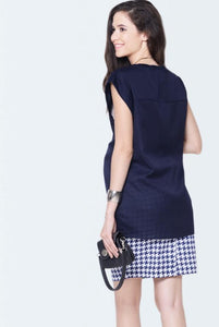 sleeveless maternity top in navy blue color_4