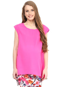 sleeveless maternity top in pink blush color_1