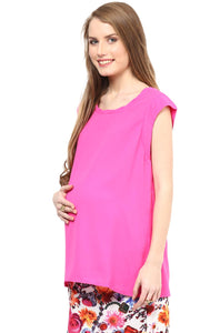sleeveless maternity top in pink blush color_4