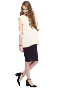 sleeveless office wear maternity top in ecru_2