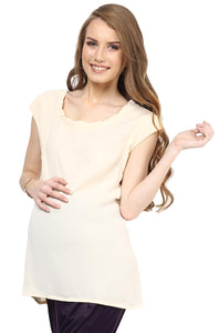 sleeveless office wear maternity top in ecru_5