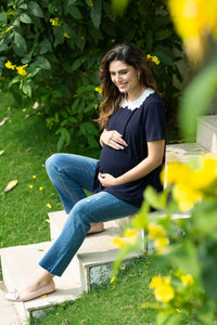 stylish maternity straight jeans in blue_1