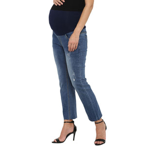 stylish maternity straight jeans in blue_4