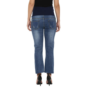 stylish maternity straight jeans in blue_5