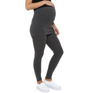 track pants for pregnancy in grey with skirt_4