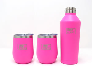 Two Pink Wine Tumblers and Bottle or Canteen
