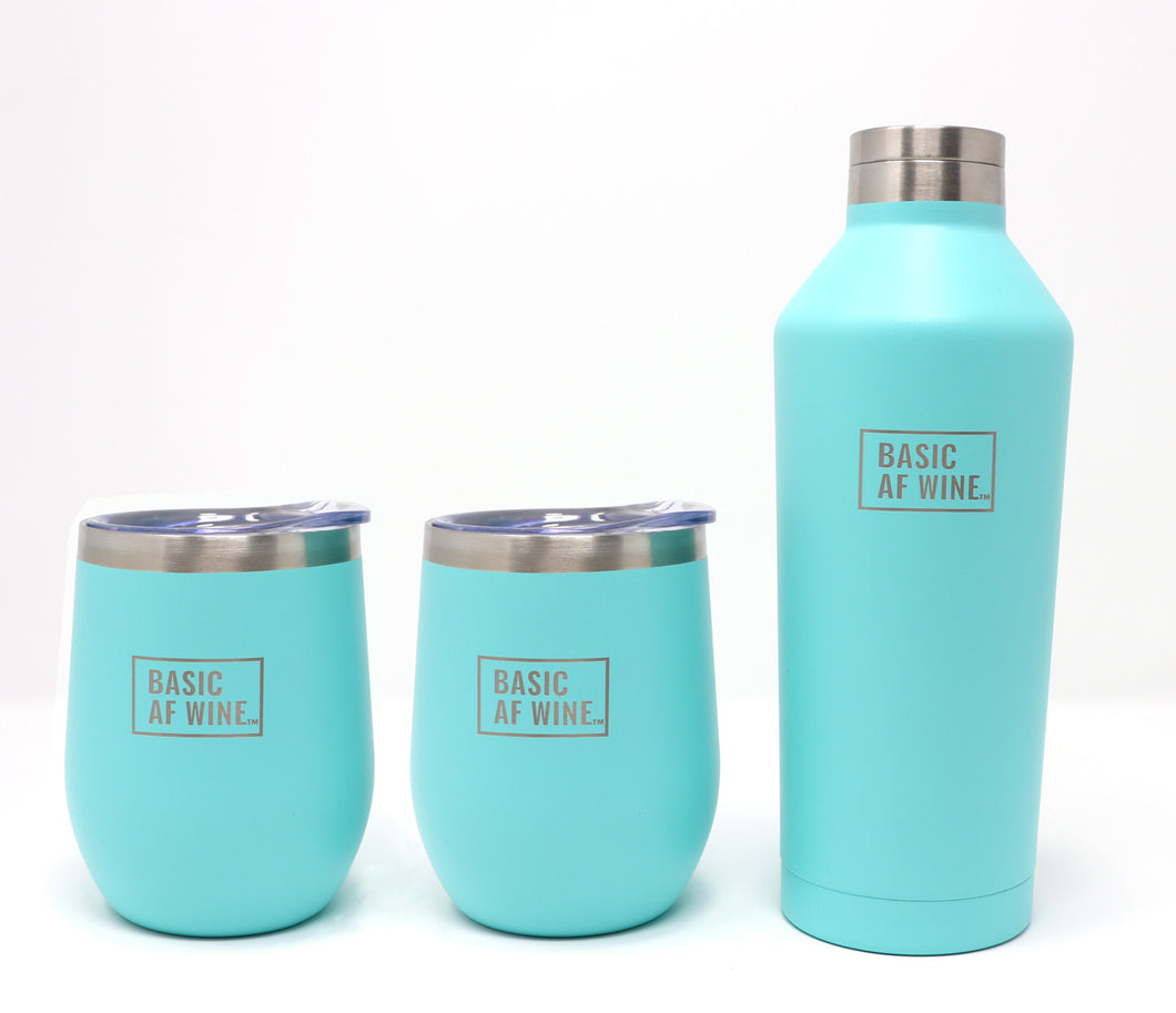 Two Teal Wine Tumblers and Bottle or Canteen