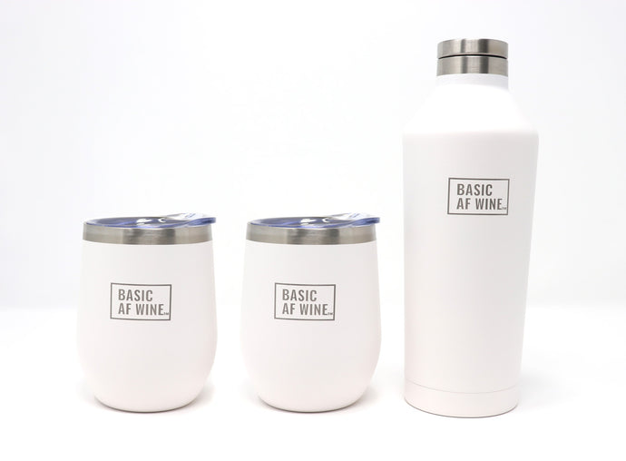 Two Navy Wine Tumblers and Bottle or Canteen