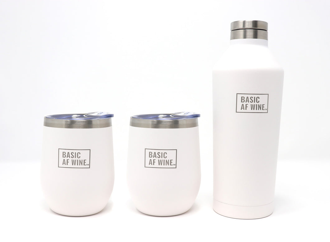 Two White Wine Tumblers and Bottle or Canteen
