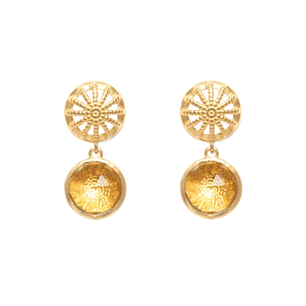 18ct Gold & Citrine Rocks Drop Earrings