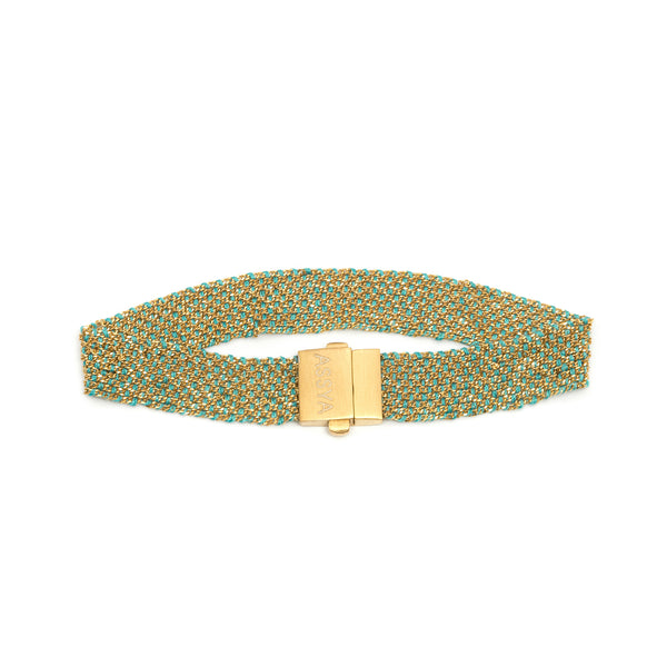 18ct Gold Vermeil & Turquoise Silk Weaved Bracelet