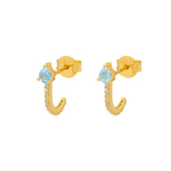 Blue Topaz Gold Huggies