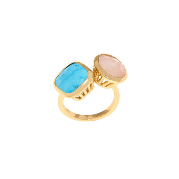 18ct Gold Vermeil Turquoise & Opal Rocks Ring