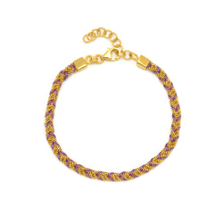 18ct Gold Vermeil & Purple Silk Kuna Bracelet