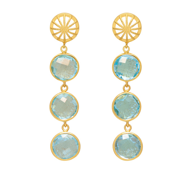 18ct Gold Vermeil & Blue Topaz Rocks Goddess Earrings