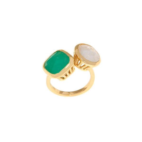18ct Gold Vermeil Chrysoprase & Moonstone Rocks Ring