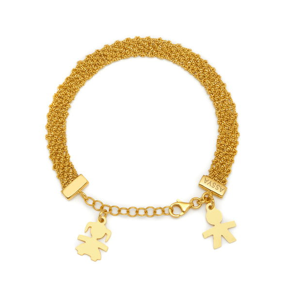 18ct Gold Vermeil Boy & Girl Charm Bracelet