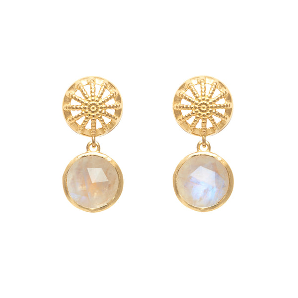 18ct Gold Vermeil & Moonstone Rocks Drop Earrings