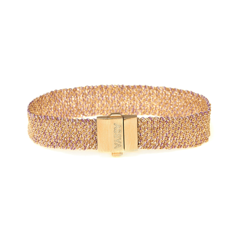 18ct Gold Vermeil & Lilac Silk Weaved Bracelet