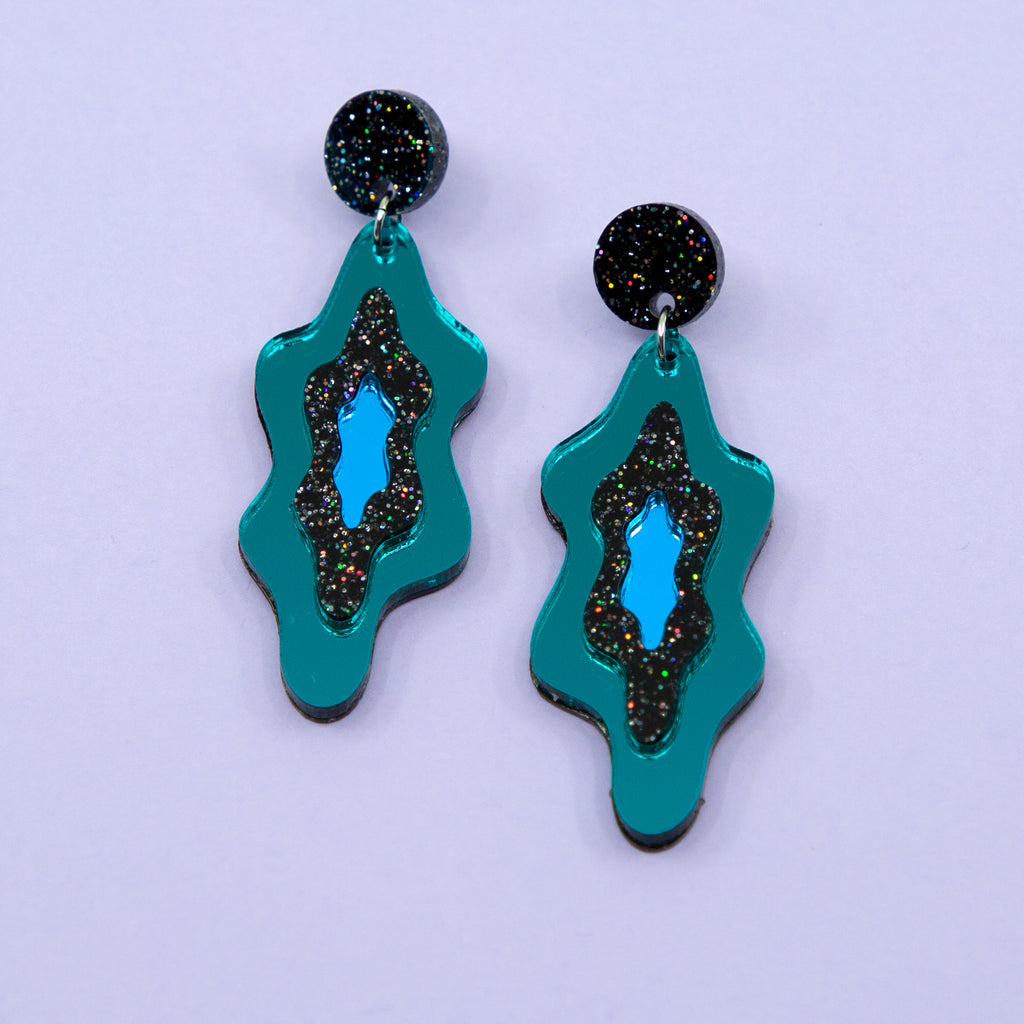 LELLIE MELTS // TEAL MIRROR & BLACK GLITTER STUD