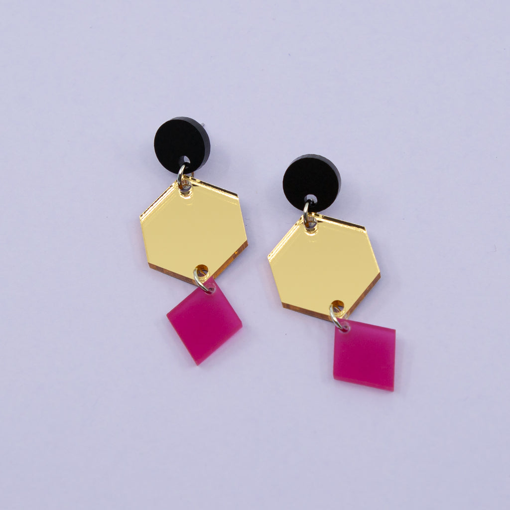 PHOEBE NO.5 // MATTE BLACK, GOLD MIRROR & FROSTED MAGENTA