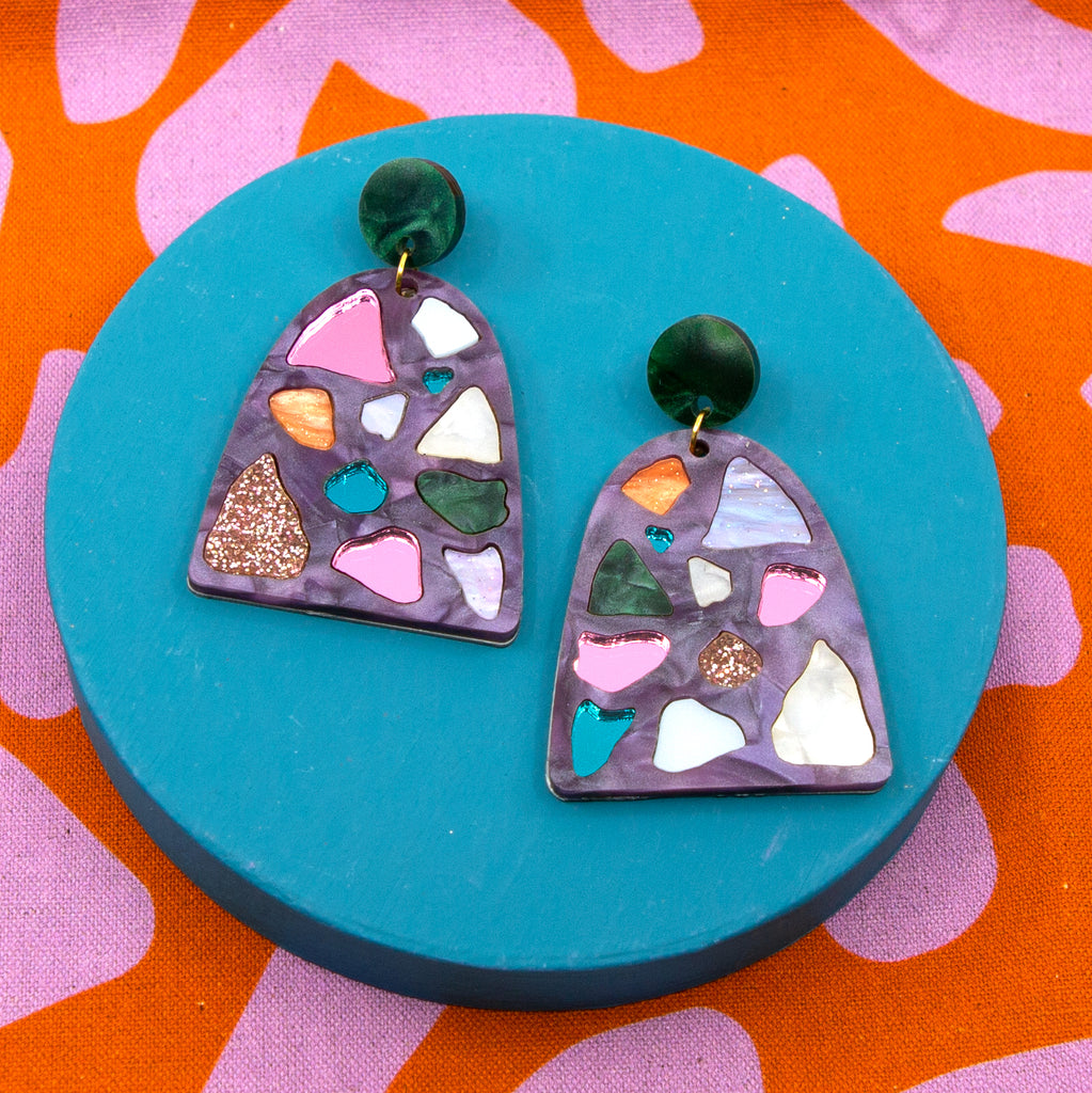 LELLIE RAINBOWS // GOLD MIRROR STUD & BACKING WITH PURPLE START