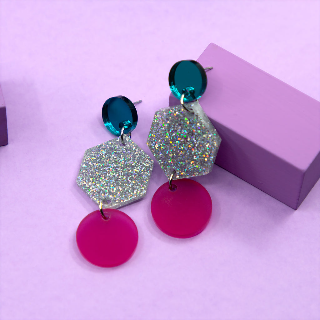 PHOEBE NO.1 IN TEAL MIRROR, SILVER GLITTER & FROSTED MAGENTA. ACRYLIC EARRING