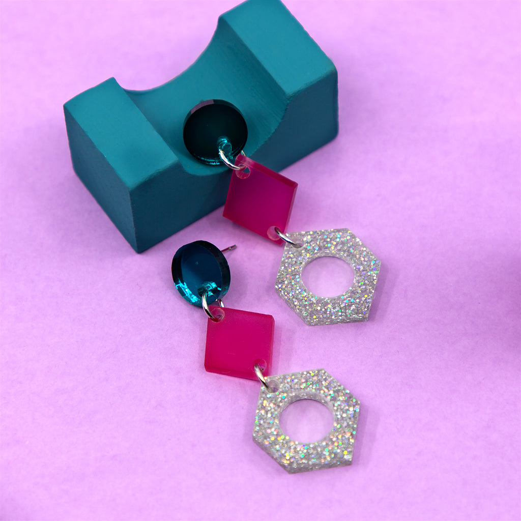 PHOEBE NO.4 IN TEAL MIRROR, FROSTED MAGENTA & SILVER GLITTER. ACRYLIC EARRING