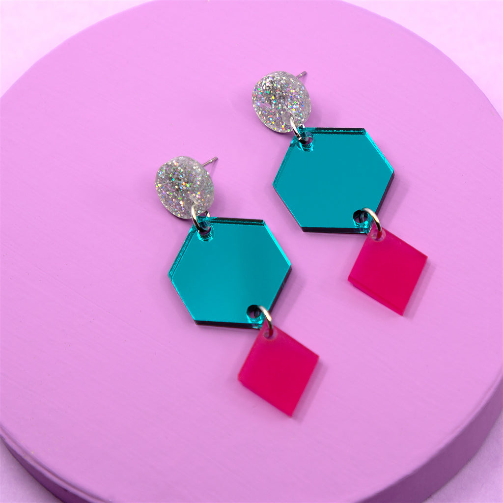 PHOEBE NO.5 IN SILVER GLITTER, TEAL MIRROR & FROSTED MAGENTA. ACRYLIC EARRING