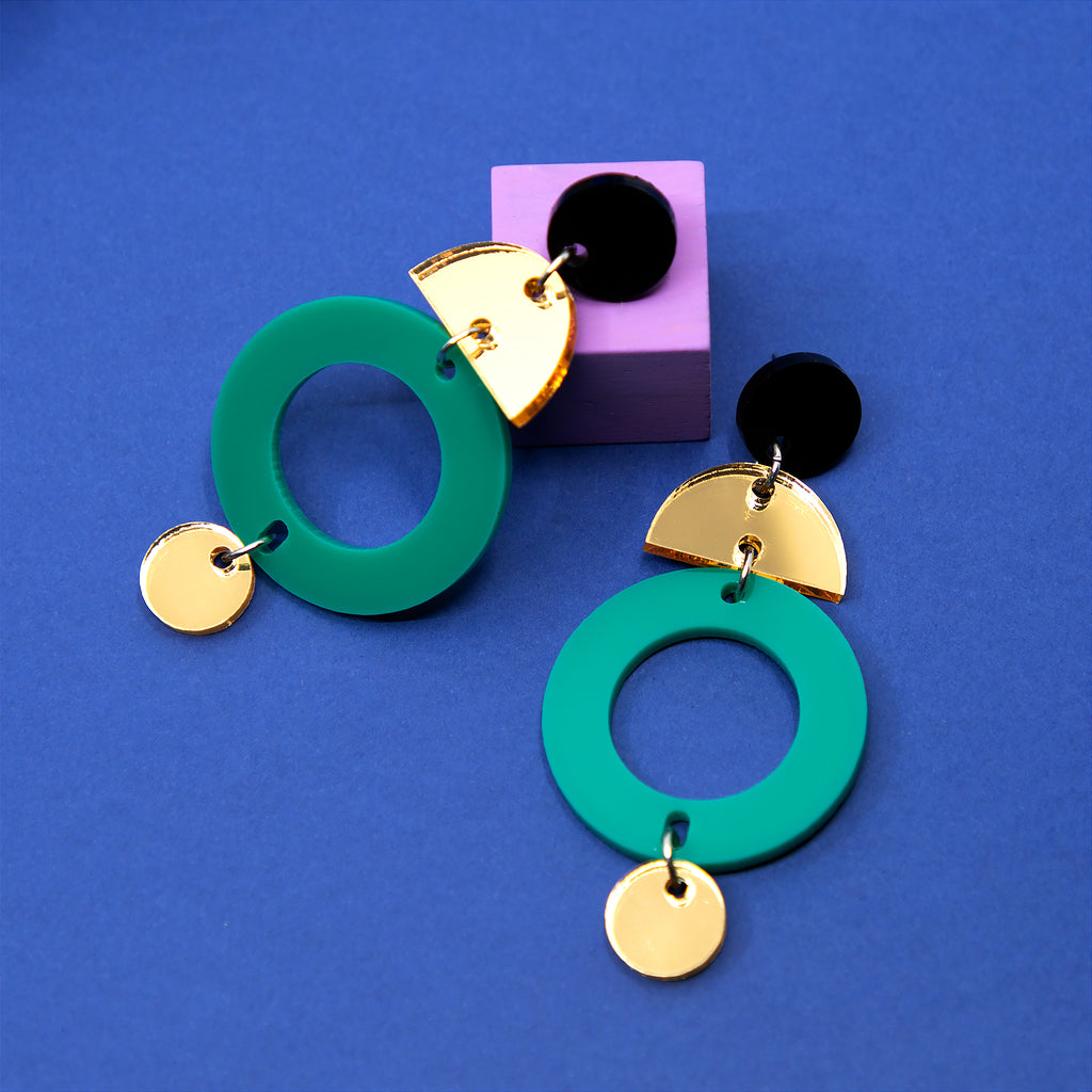 TALIA NO.1 IN MATTE BLACK, GOLD MIRROR & JADE. ACRYLIC EARRING