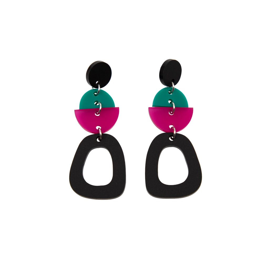 TALIA NO.4 IN MATTE BLACK, JADE & FROSTED MAGENTA. ACRYLIC EARRING