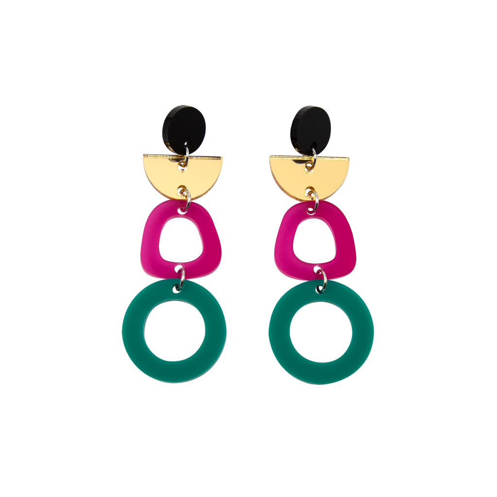 TALIA NO.5 IN MATTE BLACK, GOLD MIRROR, FROSTED MAGENTA & JADE. ACRYLIC EARRING