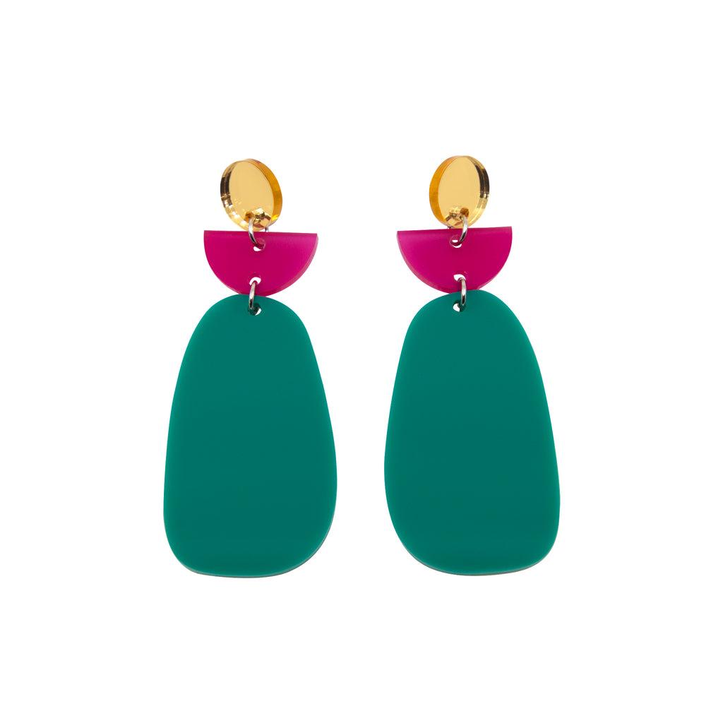 TALIA NO.6 IN GOLD MIRROR, FROSTED MAGENTA & JADE. ACRYLIC EARRING