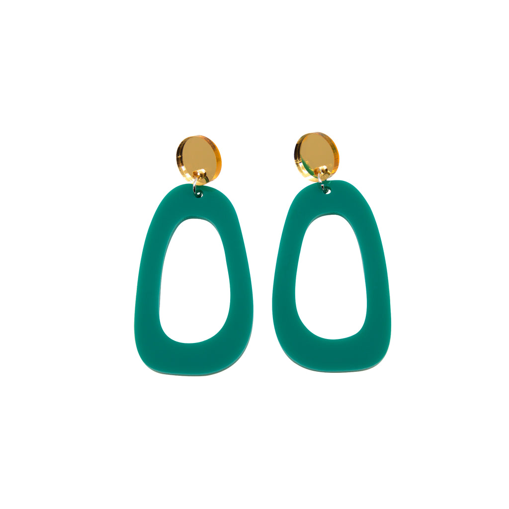 TALIA NO.9 IN GOLD MIRROR & JADE. ACRYLIC EARRING