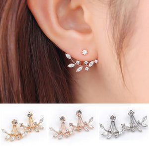 Florence Leaf Crystal Earrings