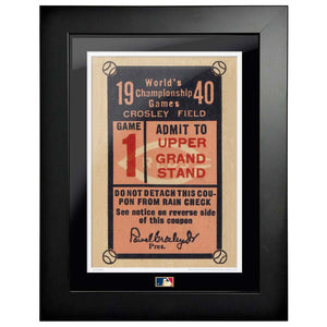"12""x16"" World Series Ticket Framed Cincinnati Reds 1940 G1C"