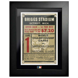 "12""x16"" World Series Ticket Framed Detriot Tigers 1945 G1L"