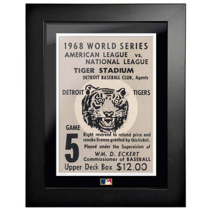 "12""x16"" World Series Ticket Framed Detriot Tigers 1968 G5L"