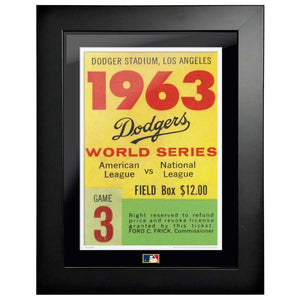 "12""x16"" World Series Ticket Framed Los Angeles Dodgers 1963 G3L"