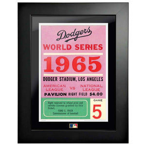 "12""x16"" World Series Ticket Framed Los Angeles Dodgers 1965 G5L"