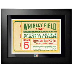 "12""x16"" World Series Ticket Framed Chicago Cubs 1945 G5L"