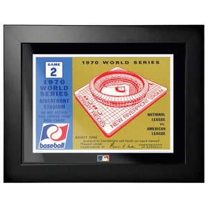 "12""x16"" World Series Ticket Framed Cincinnati Reds 1970 G2R"