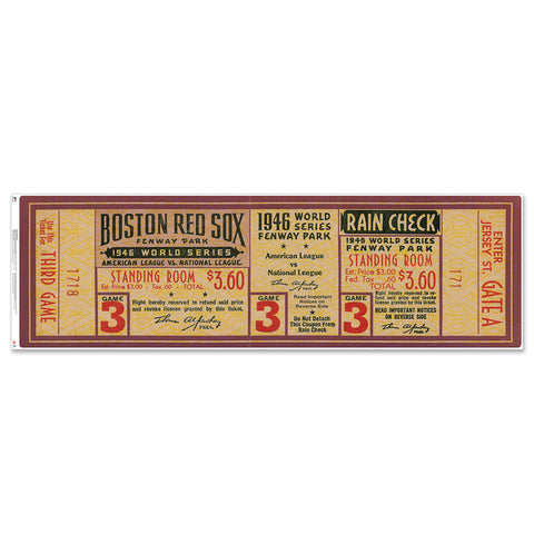 "Boston Red Sox 1946 Game 3 World Series Ticket 48"" Repositional Vinyl"